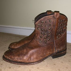 Frye Western/Cowboy Distressed Studded Booties